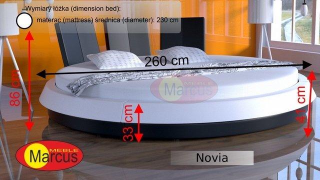 Łóżko okrągłe Novia wymiary
